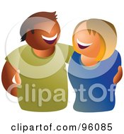 Royalty Free RF Clipart Illustration Of A Happy Hispanic Man And Caucasian Woman