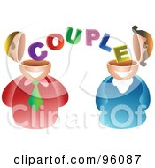 Royalty Free RF Clipart Illustration Of A Man And Women Sharing Couple Brains