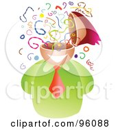 Royalty Free RF Clipart Illustration Of A Businessman With A Confused Confetti Brain