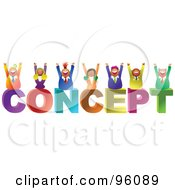 Royalty Free RF Clipart Illustration Of A Team Of Happy Diverse Business People Over CONCEPT