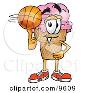 Ice Cream Cone Mascot Cartoon Character Spinning A Basketball On His Finger