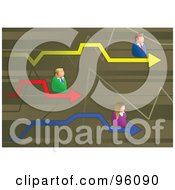Royalty Free RF Clipart Illustration Of Competitive Business Men And Women On Colorful Arrows Of A Graph by Prawny