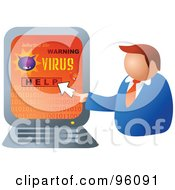 Royalty Free RF Clipart Illustration Of A Businessman Looking For Help To Remove A Computer Virus by Prawny