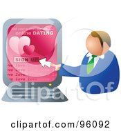 Royalty Free RF Clipart Illustration Of A Man Signing Up For An Online Dating Website