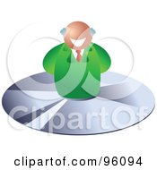 Royalty Free RF Clipart Illustration Of A Happy Senior Businessman Over A CD by Prawny
