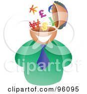 Royalty Free RF Clipart Illustration Of A Businessman With A Currency Brain