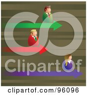 Royalty Free RF Clipart Illustration Of Competitive Business Men And Women On Different Arrows Of A Graph by Prawny