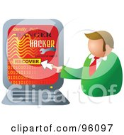 Royalty Free RF Clipart Illustration Of A Businessman Recovering His Computer From A Hacker