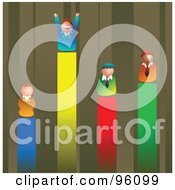 Royalty Free RF Clipart Illustration Of Competitive Business Men And Women On Different Lines Of A Vertical Bar Graph by Prawny