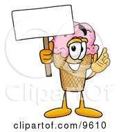 Ice Cream Cone Mascot Cartoon Character Holding A Blank Sign