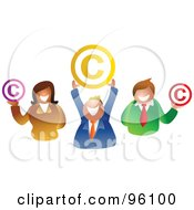 Happy Business Team Holding Copyright Symbols