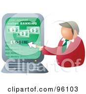 Royalty Free RF Clipart Illustration Of A Businessman Logging Into Online Banking