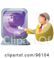 Royalty Free RF Clipart Illustration Of A Businessman Sending Email On A Computer by Prawny