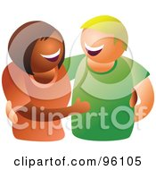 Royalty Free RF Clipart Illustration Of A Happy Hispanic Woman And Caucasian Man