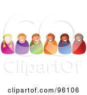 Royalty Free RF Clipart Illustration Of A Row Of Happy Diverse Children Smiling