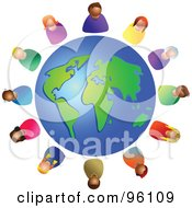 Royalty Free RF Clipart Illustration Of A Diverse Globe Circled By Colorful People
