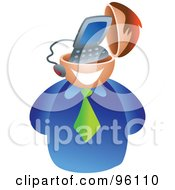 Royalty Free RF Clipart Illustration Of A Businessman With A Computer Brain
