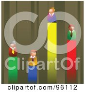 Royalty Free RF Clipart Illustration Of Competitive Businessmen On Different Lines Of A Vertical Bar Graph by Prawny