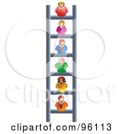 Royalty Free RF Clipart Illustration Of A Business People On Different Levels Of A Corporate Ladder by Prawny
