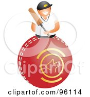 Happy Cricket Player Holding A Bat Over A Red Ball
