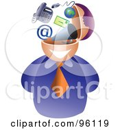 Royalty Free RF Clipart Illustration Of A Businessman With A Communications Brain
