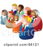 Royalty Free RF Clipart Illustration Of Two Diagonal Rows Of Diverse Business People
