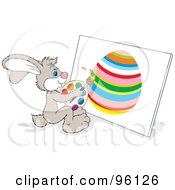 Royalty Free RF Clipart Illustration Of An Artistic Bunny Painting An Easter Egg On Canvas