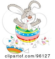 Royalty Free RF Clipart Illustration Of A Surprise Bunny Bursting From An Easter Egg