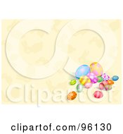 Royalty Free RF Clipart Illustration Of A Group Of Easter Eggs On A Beige Bunny Background