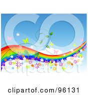 Rainbow Waving Through The Sky With Butterflies Flowers And Vines