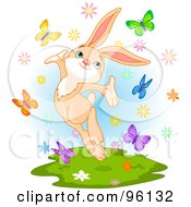 Royalty Free RF Clipart Illustration Of A Happy Spring Time Bunny Jumping With Butterflies