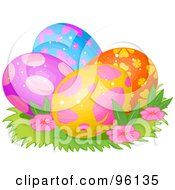 Royalty Free RF Clipart Illustration Of A Colorful Group Of Spotted Floral And Butterfly Easter Eggs In Grass And Flowers