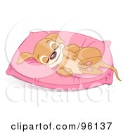 Happy Puppy Snuggling In A Pink Fluffly Pillow