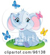 Cute Baby Blue Elephant Sitting And Watching Spring Time Butterflies