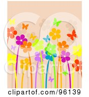 Royalty Free RF Clipart Illustration Of A Background Of Bright And Neon Flowers And Butterflies Over Beige by Pushkin