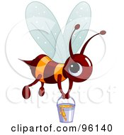 Royalty Free RF Clipart Illustration Of A Cute Brown And Orange Bee Carrying A Pail Of Honey by Pushkin