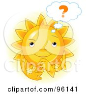 Royalty Free RF Clipart Illustration Of A Cute Sun Face Wondering by Pushkin