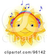 Royalty Free RF Clipart Illustration Of A Cute Sun Face Listening To Music