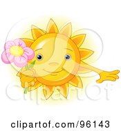 Royalty Free RF Clipart Illustration Of A Cute Sun Face Holding A Pink Flower by Pushkin