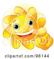 Royalty Free RF Clipart Illustration Of A Cute Sun Face Pointing Outwards