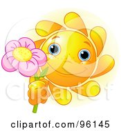 Royalty Free RF Clipart Illustration Of A Cute Sun Face Holding Up A Pink Flower by Pushkin