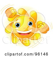 Royalty Free RF Clipart Illustration Of A Cute Sun Face Doing A Happy Dance