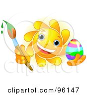 Royalty Free RF Clipart Illustration Of A Cute Sun Face Painting An Easter Egg by Pushkin