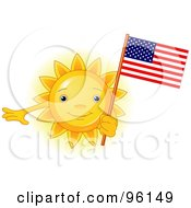 Royalty Free RF Clipart Illustration Of A Cute Sun Face Holding An American Flag by Pushkin