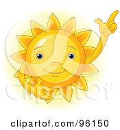 Royalty Free RF Clipart Illustration Of A Cute Sun Face Gesturing Upwards