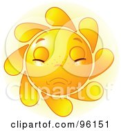Royalty Free RF Clipart Illustration Of A Cute Sun Face With A Sad Expression by Pushkin