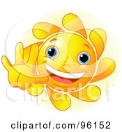Royalty Free RF Clipart Illustration Of A Cute Sun Face Holding A Hand Out by Pushkin