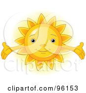 Royalty Free RF Clipart Illustration Of A Cute Sun Face With Open Arms by Pushkin