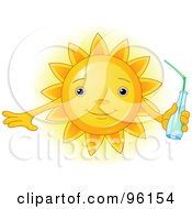Royalty Free RF Clipart Illustration Of A Cute Sun Face Holding A Beverage by Pushkin