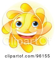 Royalty Free RF Clipart Illustration Of A Cute Sun Face With Blue Eyes And A Big Smile by Pushkin